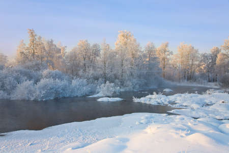The foggy river with the frozen trees Stock Photo - 6389132