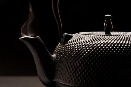 Black cast-iron teapot in Oriental style