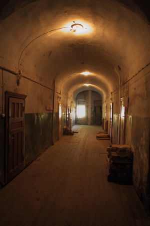Valaam monastery  Interior  Corridor with doors of the cells and premises where the monks live and workers