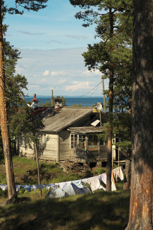 ladoga: Rural house on the shore of lake Ladoga  That