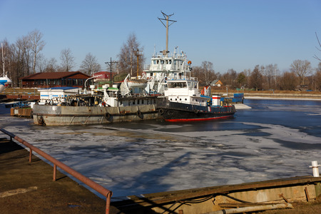 Tug ships are wintering in the bay. Khlebnikov, ship-repair factory.