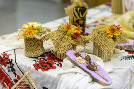 recipient: traditional handmade recipient Stock Photo