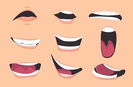Cartoon mouth expressions set. Vector illustration. Illustration