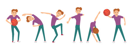 Boy doing different exercises. Vector illustration.
