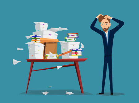 Businessman is a table with pile of office papers and documents. Vector illustration in cartoon style.