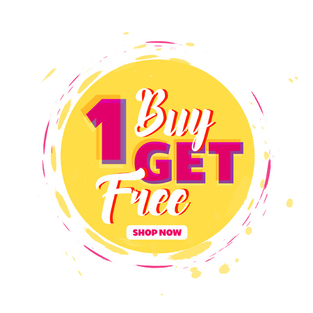 Buy 1 Get 1 Free sale tag. Special offer promotion. Vector illustration. Illustration