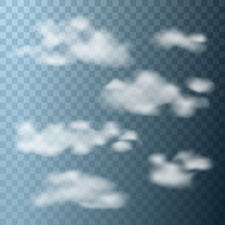 Set of clouds on a transparent background. Vector illustration. Illustration