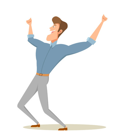Happy man raising arms. Illustration