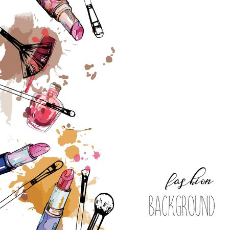 Make up artist objects: lipstick, nail polish, brush. With place for your text. Illustration