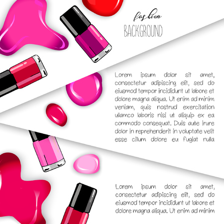 Cosmetics and fashion background. Use for advertising flyer, banner, leaflet. With place for your text. Textlate Vector.