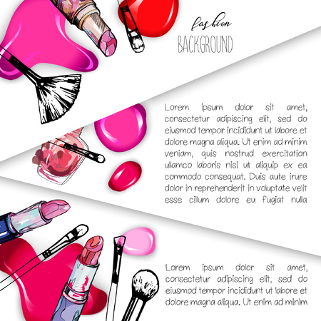 Cosmetics and fashion background. Use for advertising flyer, banner, leaflet. With place for your text.Template Vector. Illustration