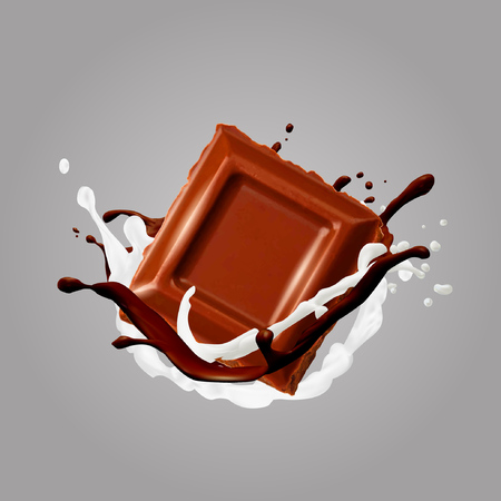 Chocolate in splash. Vector illustration.