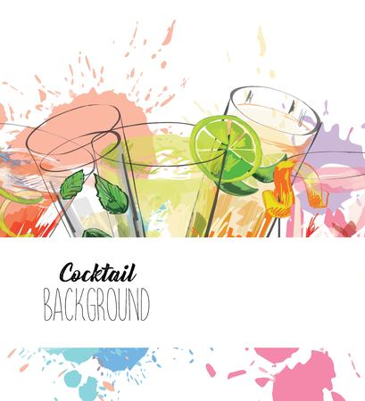 Fondo acuarela con bebidas alcohólicas. Diseño de plantillas para menú, barra. Ilustración de vector