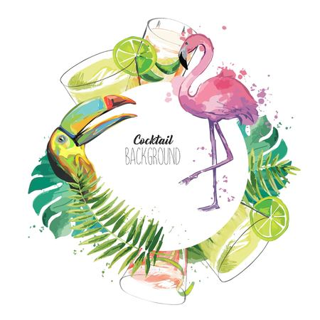 Exotic template with flamingo, toucan, drinks and tropical leaves. Illustration