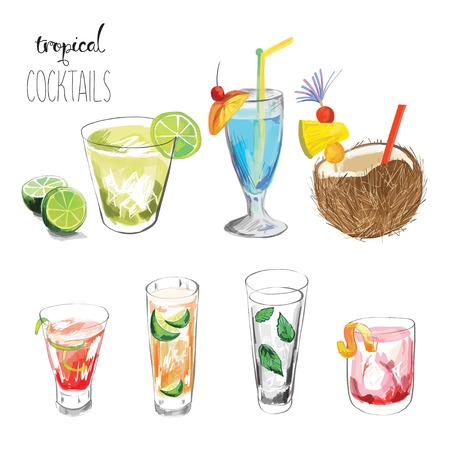 Set of tropical cocktails.