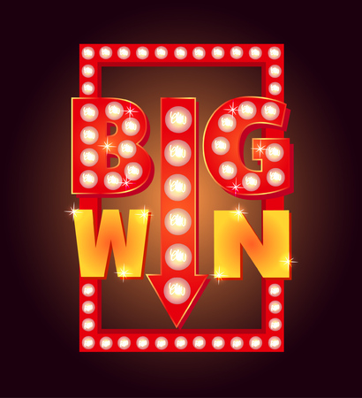 Retro sign with lamp Big Win. Vector illustration. Illustration