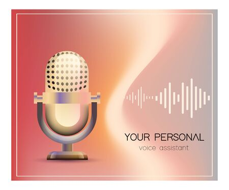Personal assistant and voice recognition concept flat vector illustration of sound symbol intelligent technologies. Microphone with bright voice and sound imitation lines. Çizim