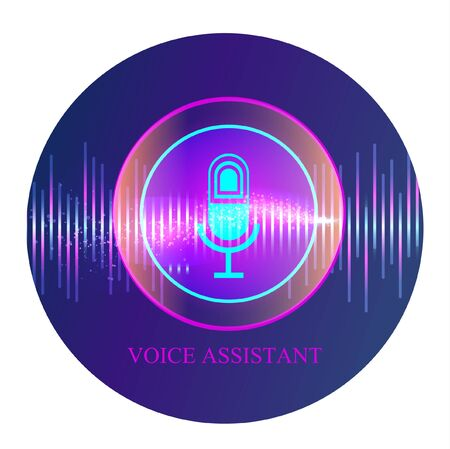 Personal assistant and voice recognition concept flat vector illustration of sound symbol intelligent technologies. Microphone button with bright voice and sound imitation lines.  イラスト・ベクター素材