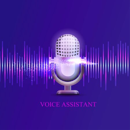 Personal assistant and voice recognition concept flat vector illustration of sound symbol intelligent technologies. Microphone button with bright voice and sound imitation lines. Çizim