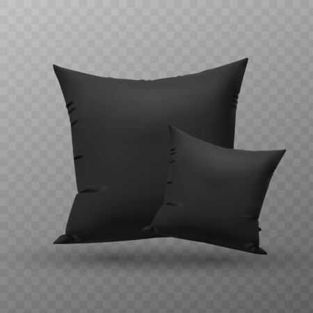 Two blank black square pillow, cushion vector illustration. 向量圖像