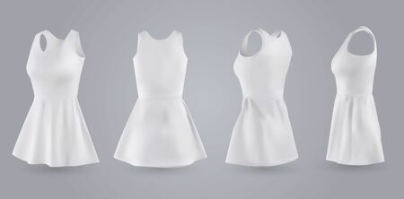Biała sukienka damska z przodu, z tyłu i z boku, na białym tle na szarym tle. Realistyczna ilustracja wektorowa 3D