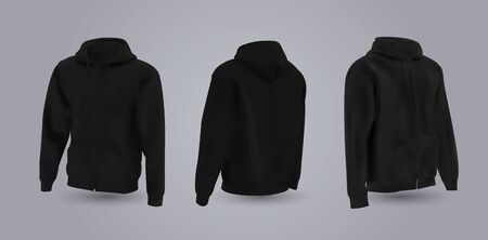 Black mens hooded sweatshirt mockup in front, back and side view, isolated on a gray background. 3D realistic vector illustration, pattern formal or casual sweatshirt.