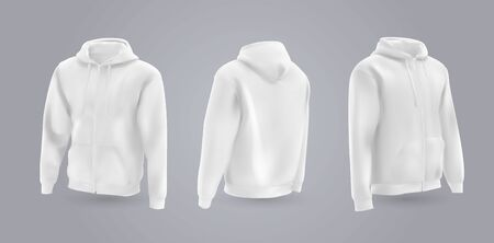 White mens hooded sweatshirt mockup in front, back and side view, isolated on a gray background. 3D realistic vector illustration, pattern formal or casual sweatshirt. 일러스트