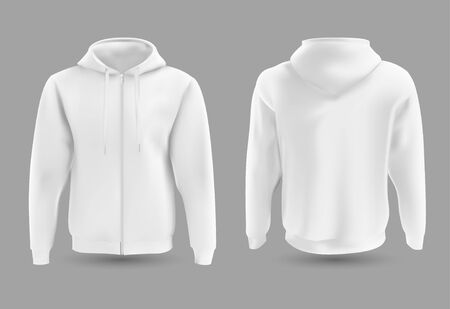 Front and back white hoodie vector template. Sweatshirt fashion with hoodie for sport and urban style illustration. Ilustrace