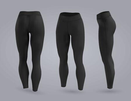 Damen schwarze Leggings Mockup in Vorder- und Rückansicht, auf grauem Hintergrund isoliert. Realistische 3D-Vektorillustration Vektorgrafik