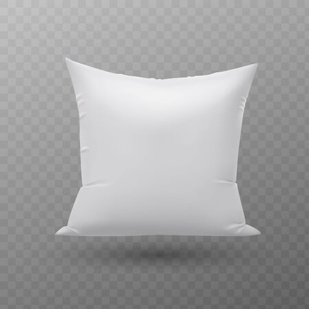 Blank white square pillow, cushion vector illustration.