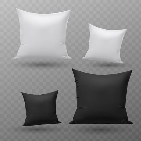 Vector realistic blank white, black square and rectangular pillow or cushion icon set isolated on transparent background. Design template.