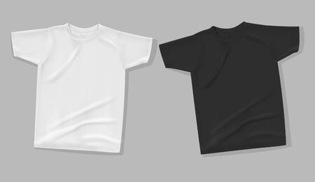 Shirt mock up on gray background. T-shirt template. White and black version, front design. Ilustrace