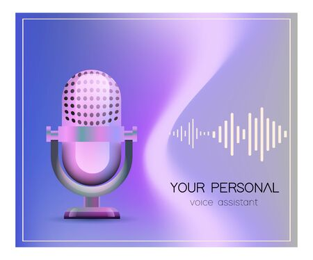 Personal assistant and voice recognition concept flat vector illustration of sound symbol intelligent technologies. Microphone with bright voice and sound imitation lines.  イラスト・ベクター素材