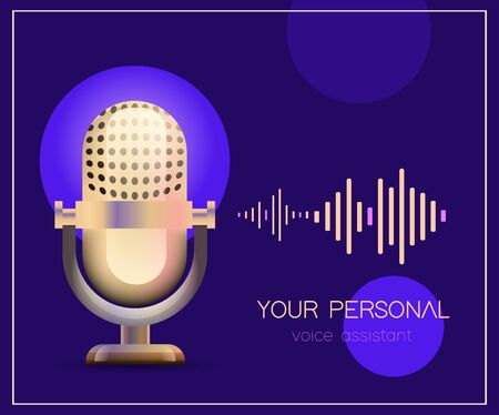 Personal assistant and voice recognition concept flat vector illustration of sound symbol intelligent technologies. Gold microphone with bright voice and sound imitation lines on purple background.