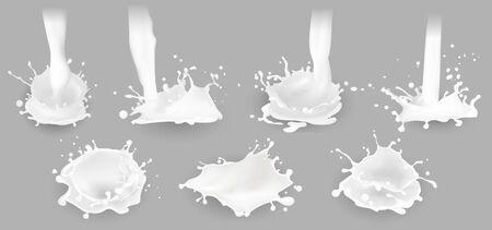 Milk splashes, drops and blots. Vector illustration. Ilustração