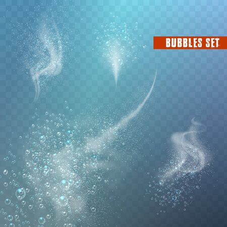 Blue underwater fizzing air bubbles Fizzy sparkles in water, sea, aquarium, ocean. Soda pop. Undersea vector texture.
