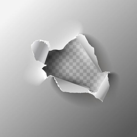 Realistic holes in paper isolated on gray backgroun. Vector illustration.