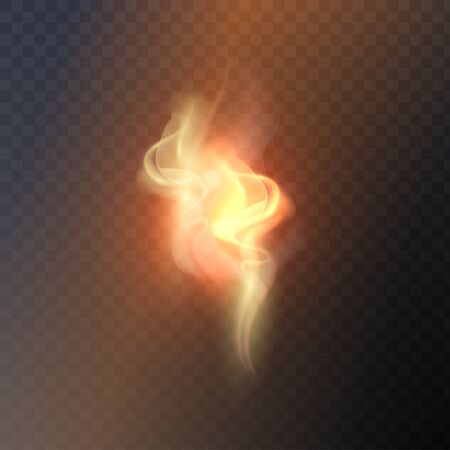 Vector eps 10 isolated transparent effect of realistic flame. Fire illustration, candle light, burning, hot, devouring element, bonfire, twinkle, combustion. torch match