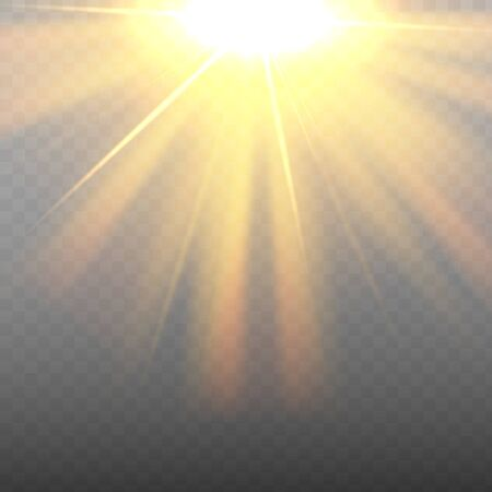 Vector sunlight. Sun beams or rays on transparent background.