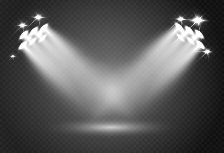 Spotlight effect for theater concert stage. Abstract glowing light of spotlight illuminated on transparent background. Иллюстрация