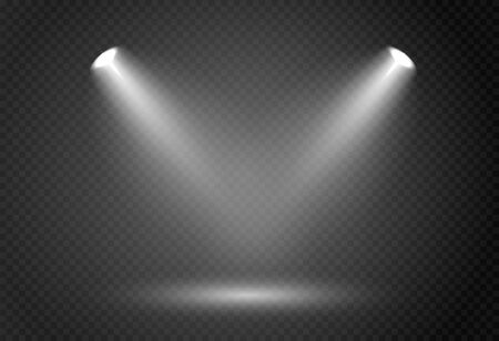 Efekt reflektora na teatralnej scenie koncertowej. Streszczenie świecące światło reflektora oświetlone na przezroczystym tle. Ilustracje wektorowe