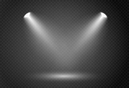 Effetto faretto per palcoscenico di concerti teatrali. Luce incandescente astratta di riflettori illuminati su sfondo trasparente. Vettoriali