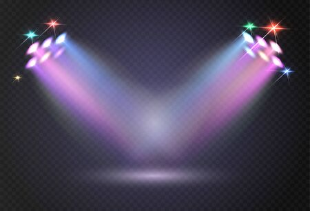 Stadium lights, shiny projectors isolated. Vector spotlight template. Lighti projector illuminated for concert and game illustration.