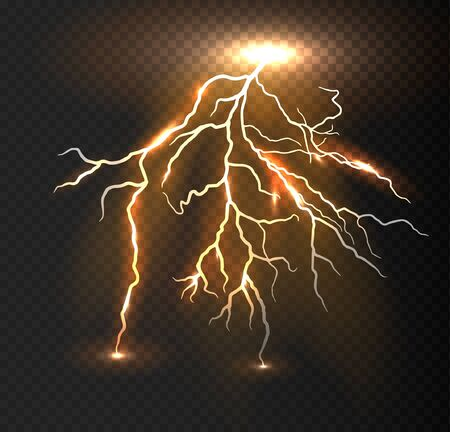 Realistic vector orange lightning on checkered background. Bright, electric lightning. Stock fotó - 132047924
