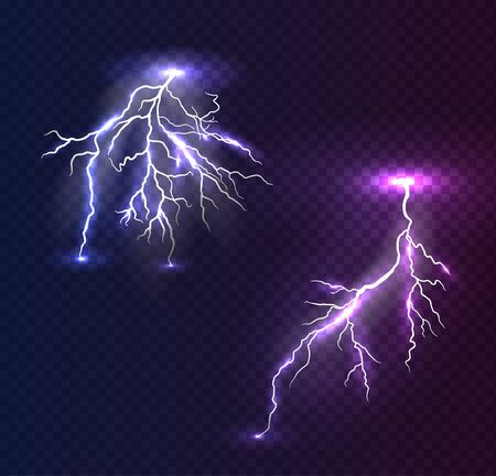 Realistic vector violet and blue lightning on checkered background. Bright, electric lightning.