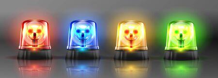 Realistische Blinksirene Set Vektor. Rot, Orange, Grün, Blau. 3D Realistisches Objekt. Lichteffekt. Rotations-Leuchtfeuer. Notblinkende Sirene. Getrennt Auf Grauer Hintergrundillustration. Vektorgrafik