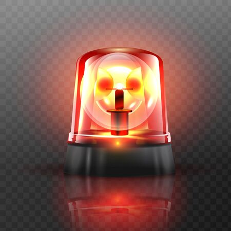 Red Flasher Siren Vector. Realistic Object. Light effect. Beacon For Police Cars Ambulance, Fire Trucks. Emergency Flashing Siren. Transparent background vector illustration