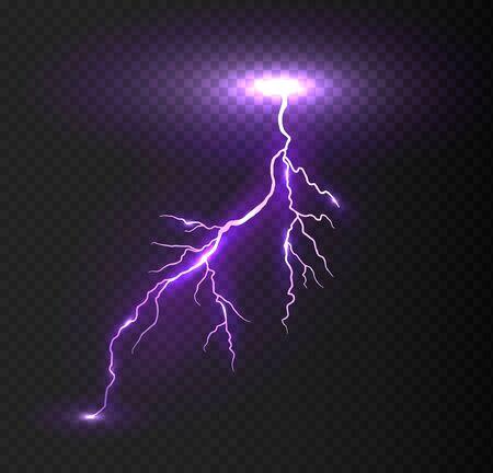 Rayo violeta vector realista sobre fondo a cuadros. Relámpago eléctrico brillante.