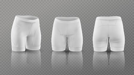 Womens cycling shorts mockup in different positions. Vector illustration