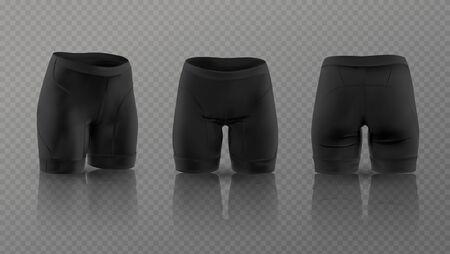 Maquette de shorts de cyclisme noirs pour femmes dans différentes positions. Illustration vectorielle